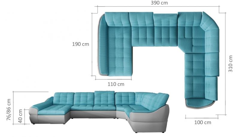 Stūra divāns INFINITY XL izvelkamais