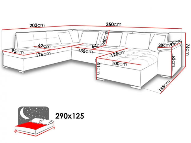 Stūra izvelkamais  dīvāns Tony Bis