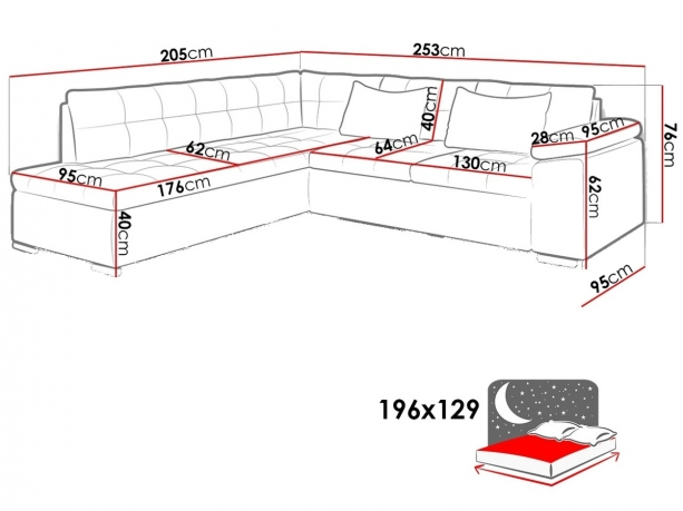 Izvelkamais stūra dīvāns Kedi Bis