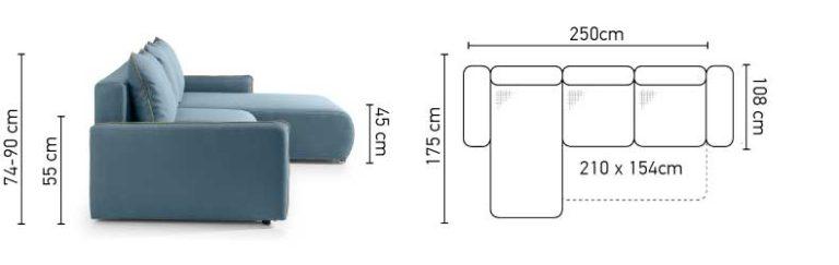 Stūra divāns PEZZO izvelkamais + veļas kaste