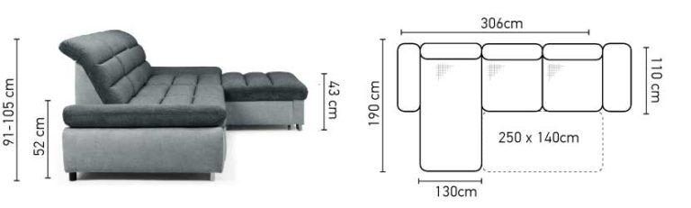 Stūra divāns ROMA izvelkamais + veļas kaste