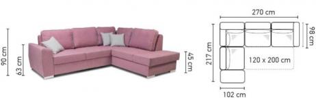 HAWANA izvelkamais stūra dīvāns